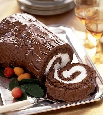 Buche de Noel -  A yule log cake is the traditional centerpiece of the French Christmas dessert table.