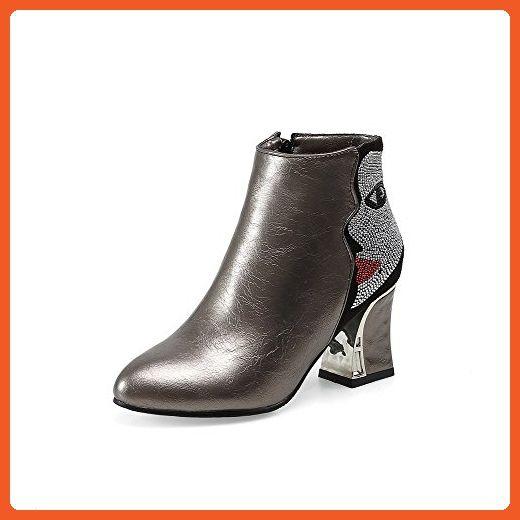 Women's Solid Blend Materials Kitten Heels Round Closed Toe Zipper Boots Blue 35