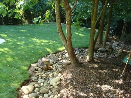 Dry Creek Bed Around Tree Need To Think About Doing This In The Spring Dry Riverbed Landscaping Landscaping Around Trees Landscape Design