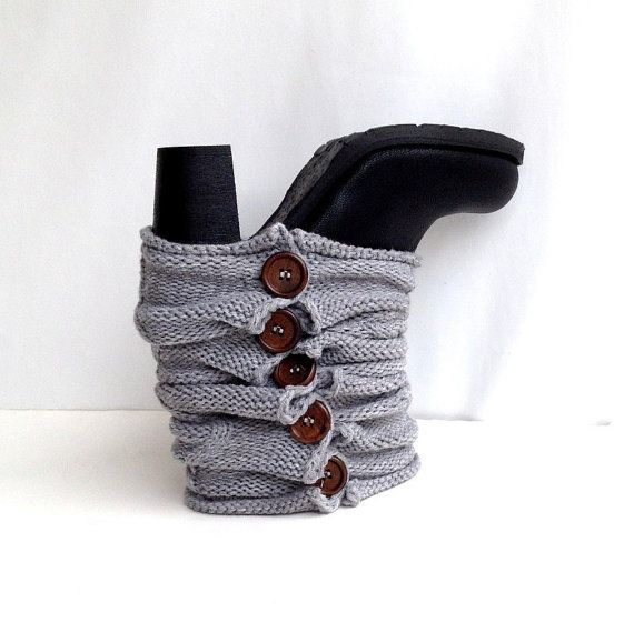 Gray Knit Leg Warmers Boot Cuffs Knit Socks Boot Toppers Button ...