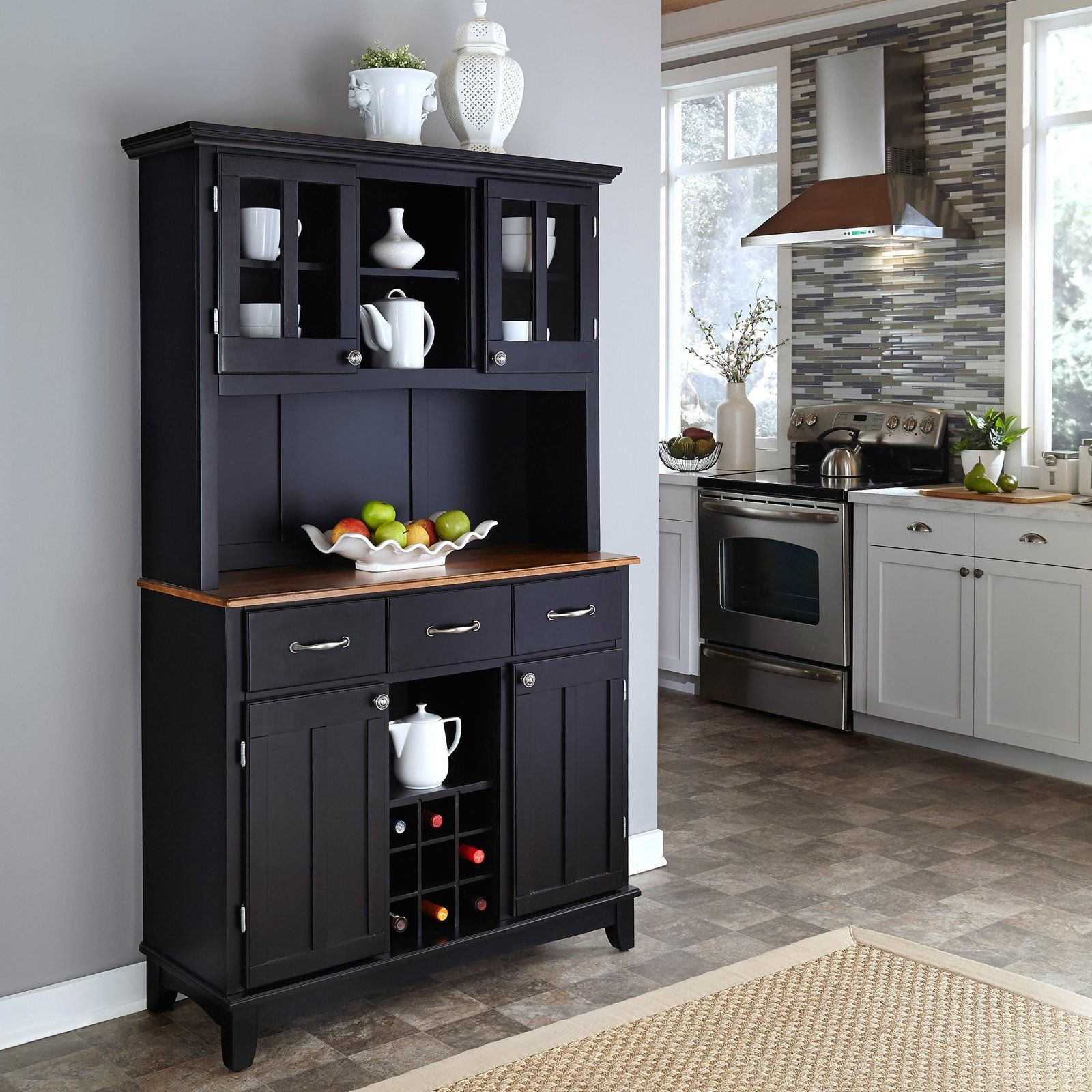 Black wooden baker rack with drawers and cabinet inside kitchen white set natural rug black buffet