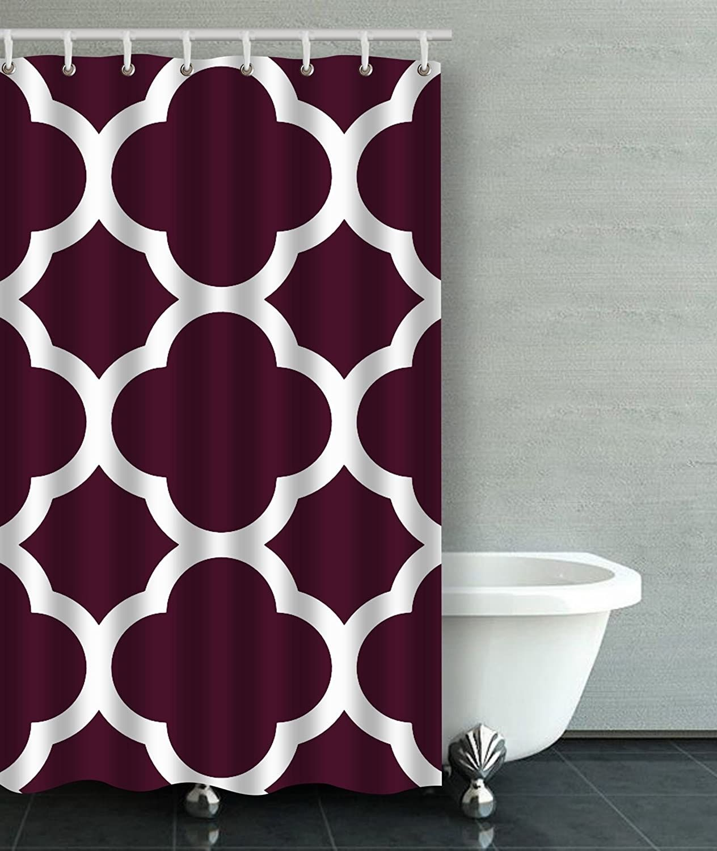 Deep Purple Moroccan Dark Purple Large Quatrefoil Bathroom Shower