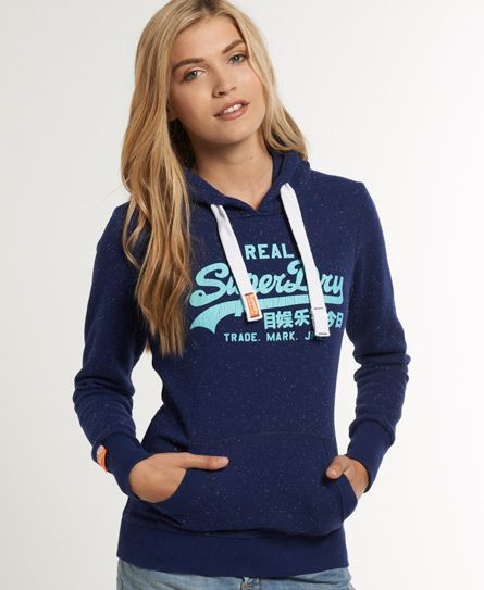 Womens Vintage Logo Hoodie In Supermarine Navy Nep Superdry Superdry Clothes Hoodies Women Hoodies Sweatshirts