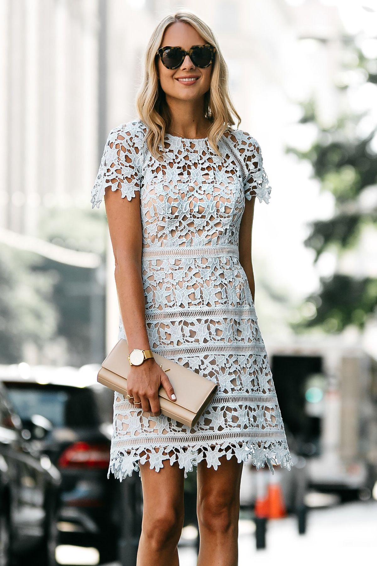e74fc66ba557 Fashion Jackson, Dallas Blogger, Nordstrom Short Sleeve Blue Lace Dress,  YSL Nude Clutch