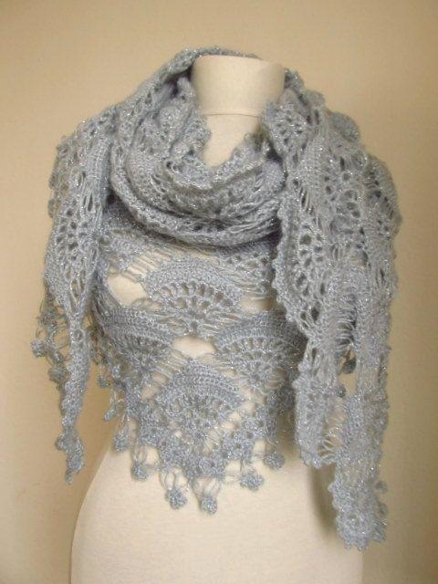 Crochet Hand Silver Glitter GREY Shawlwedding bridal by asuhan, $75.00