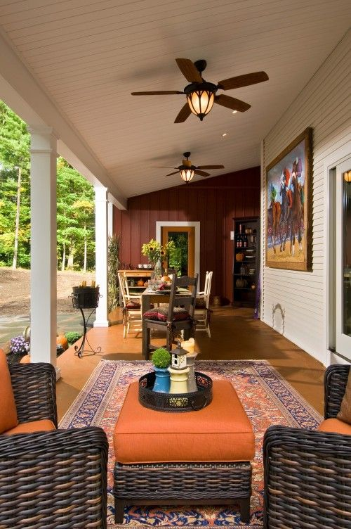 A Good Homey Feel House With Porch Screened Porch Decorating Best Outdoor Ceiling Fans