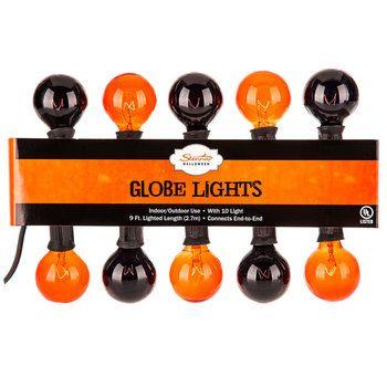 Orange & Black Globe Light Set