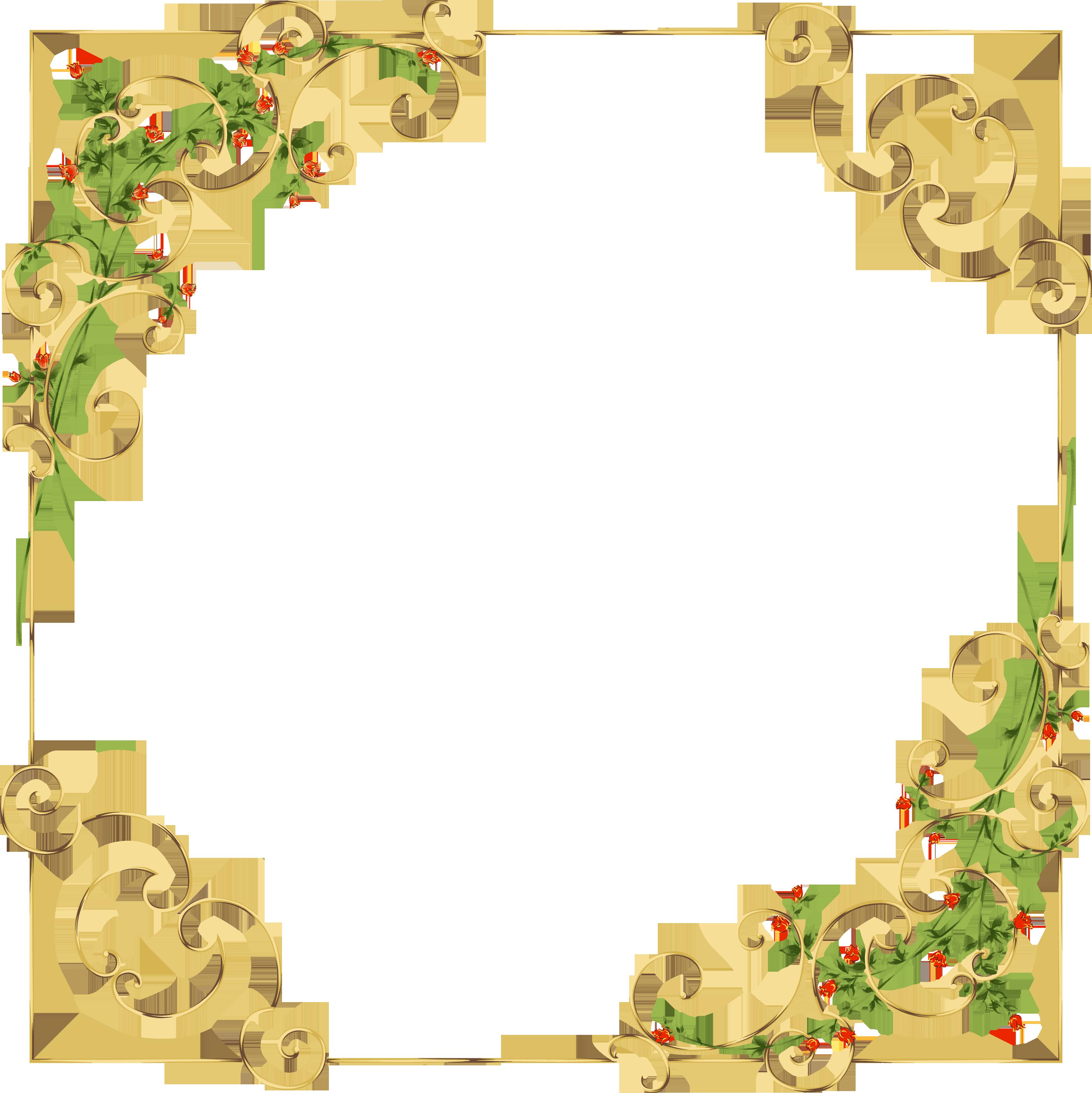 19.png (3400×3403) | Рамки, Картинки, Цветочная рамка