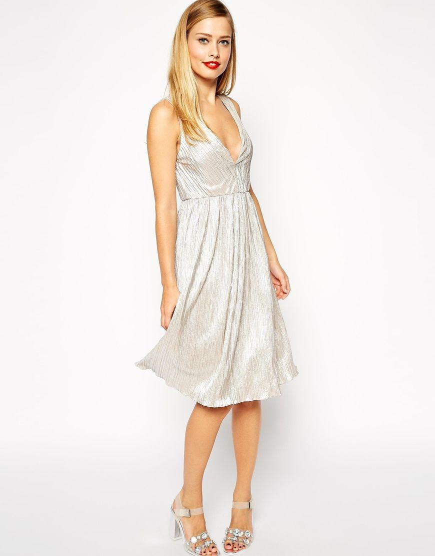 37f68426de V Neck Foil Midi Dress