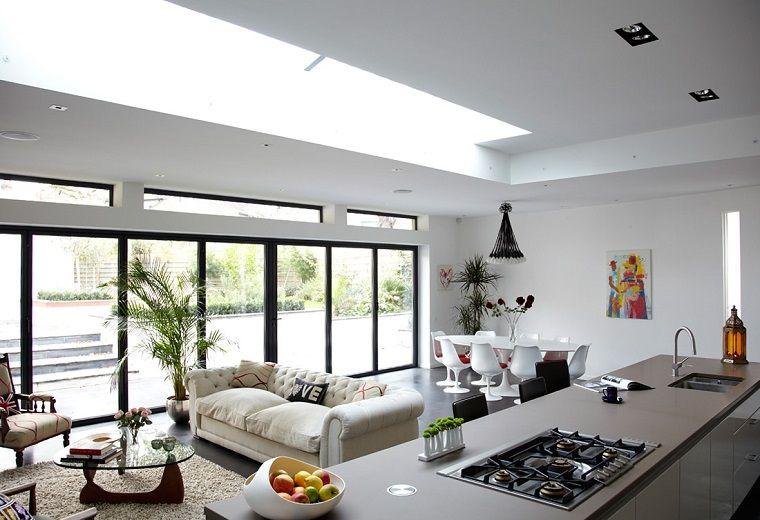 soggiorno con angolo cottura-grande-vetrata | Arredamento | Pinterest