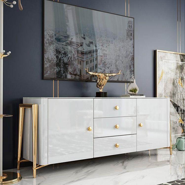 White 63 Inch Sideboard With 2 Doors 3 Drawers Modern Kitchen Storage Sideboard Cabinet Gold Frame Cab In 2020 Anrichte Weiss Aufbewahrung Wohnzimmer Wohnzimmer Tv