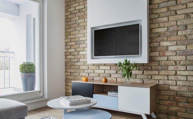 Fernseher-Wand-montieren-Wohnzimmer-unbehandelte-ziegelwand - unbehandelte ziegelwand