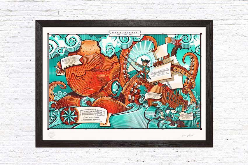 Gusto Robusto: Psychomachia Inner Battle di David Sossella, stampa a tiratura limitata. #arte #art #illustration #print