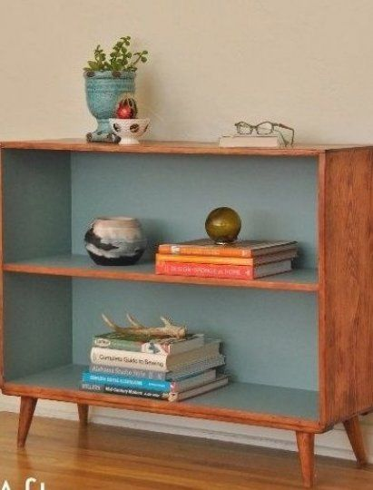 Do this with the boys  old bookcases  Before and After  Mid-Century Bookcase Makeover    Curbly   DI...