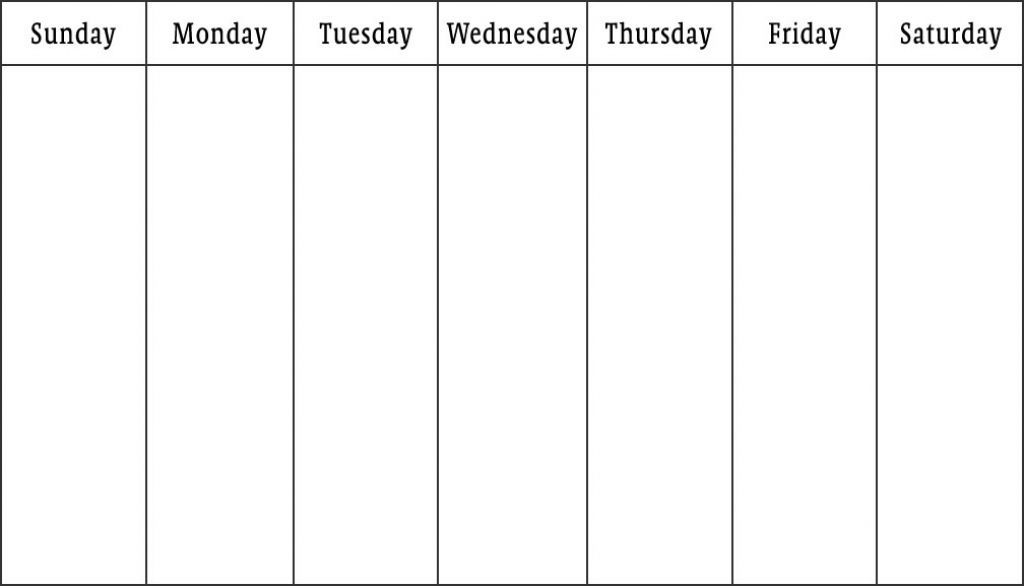 Printable Blank Weekly Calendar Template Example  Helloalive