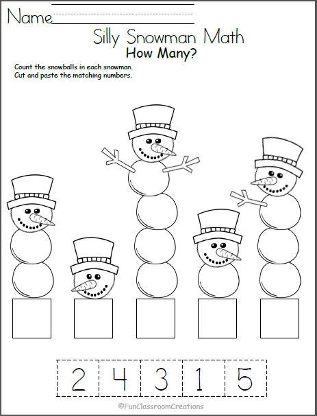 Silly Snowman Math Numbers Worksheet Madebyteachers Winter Math Worksheets Preschool Winter Math Snowmen Math