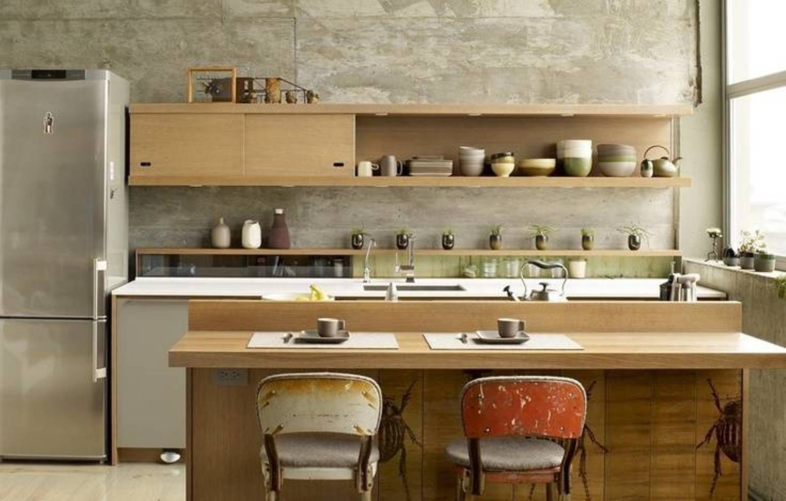 Modern Japanese Kitchen Design With With Classic Cabinet And