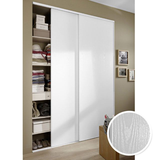 2 portes de placard blizz blanc vein 250 x 150 cm placard blanc portes de placard et castorama. Black Bedroom Furniture Sets. Home Design Ideas
