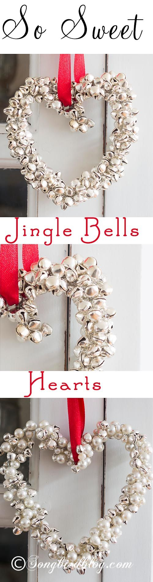 Making christmas decorations jingle bells - Homemade Christmas Ornament These Jingle Bells Hearts Are Fun Easy And Quick To Make