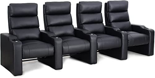 Shop for Octane Seating Victory ZR550 Home Cinema Chairs – Black Bonded Leather – Accessory Dock – Row 4 Movie Chairs online