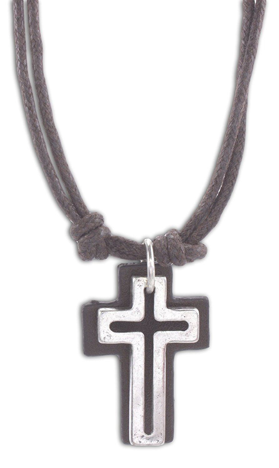 Cruz Accessories Open Cross with Leather Back on Double 16' Cord Vintage Look Necklace >>> Learn more by visiting the image link.