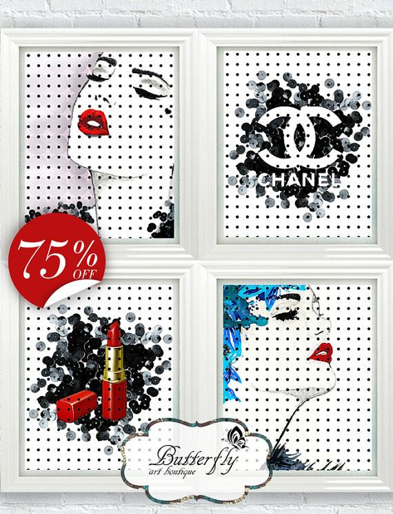 75% OFF SALE Coco Chanel Ppint Set Chanel от ArtBoutiqueButterfly