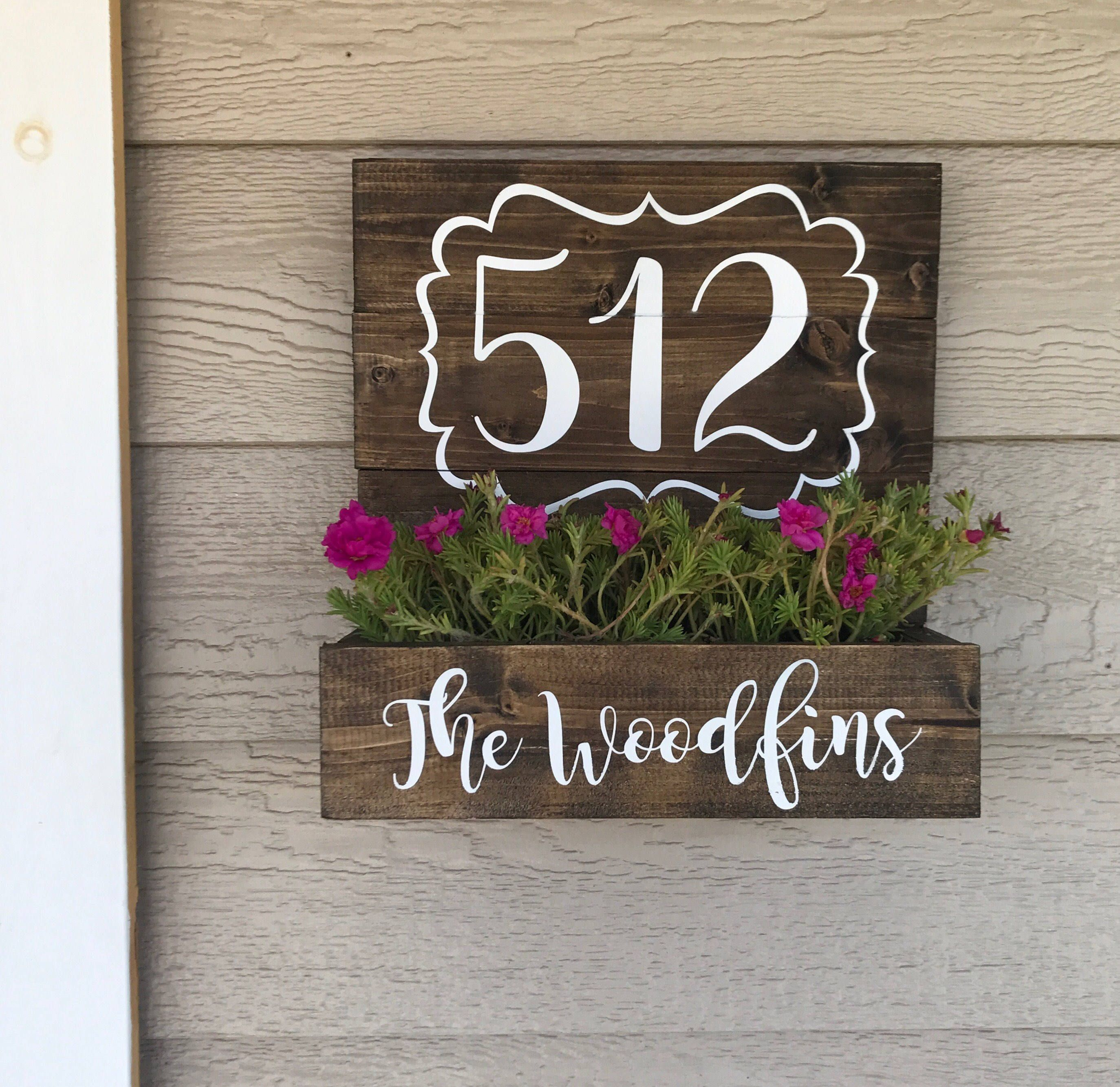 House Number Planter Wooden Address Planter Box Porch Wall Decor