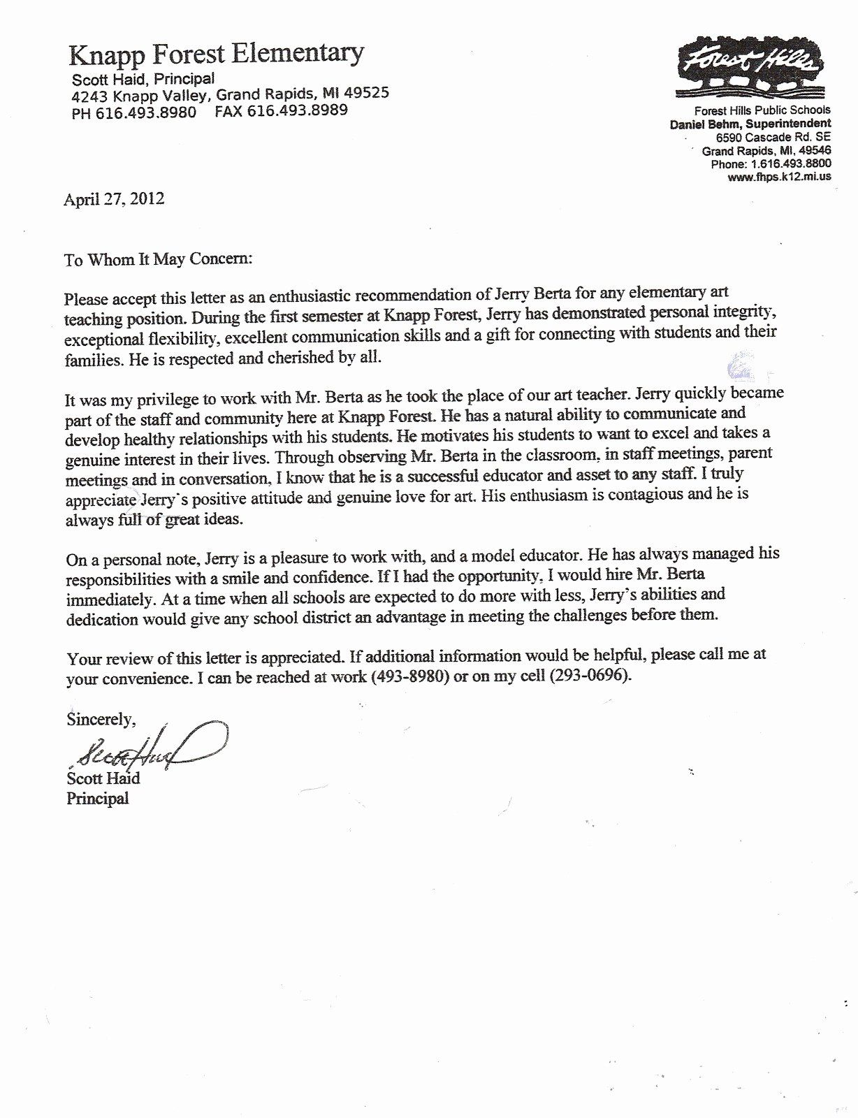 Letter Of for Principal Awesome Valid
