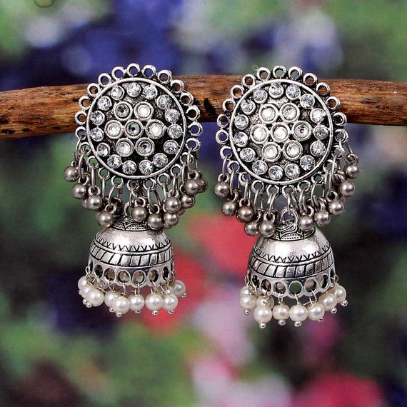 49e19d244 Beautiful Bollywood Oxidized German Silver White-color big jhumka jhumki  indian traditional ethnic e