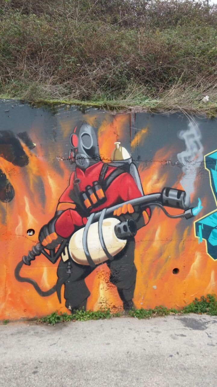 Found this pyro graffiti in split croatia games teamfortress2 steam tf2 steamnewrelease gaming valve