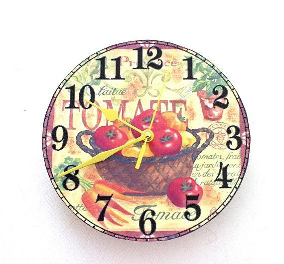 Wall Clock Shabby Chic Kitchen Clock With Tomatoes In Country