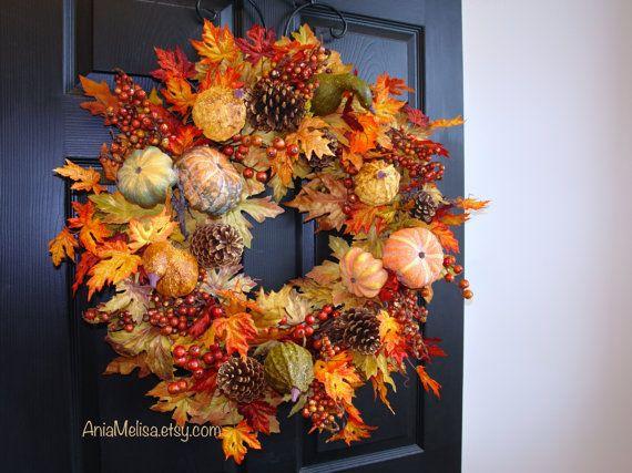 Fall Wreath Thanksgiving Wreath Wreaths For Front Door Wreaths Autumn Wreaths Fall Outdoor Wreaths Gift Ideas Autumn Wreaths For Front Door Autumn Decorating Door Wreaths Fall