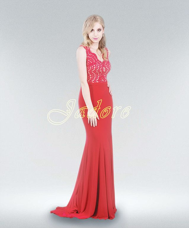 Jc8025 By Jadore Evening Dress Company In Red Lace And Jersey Skirt