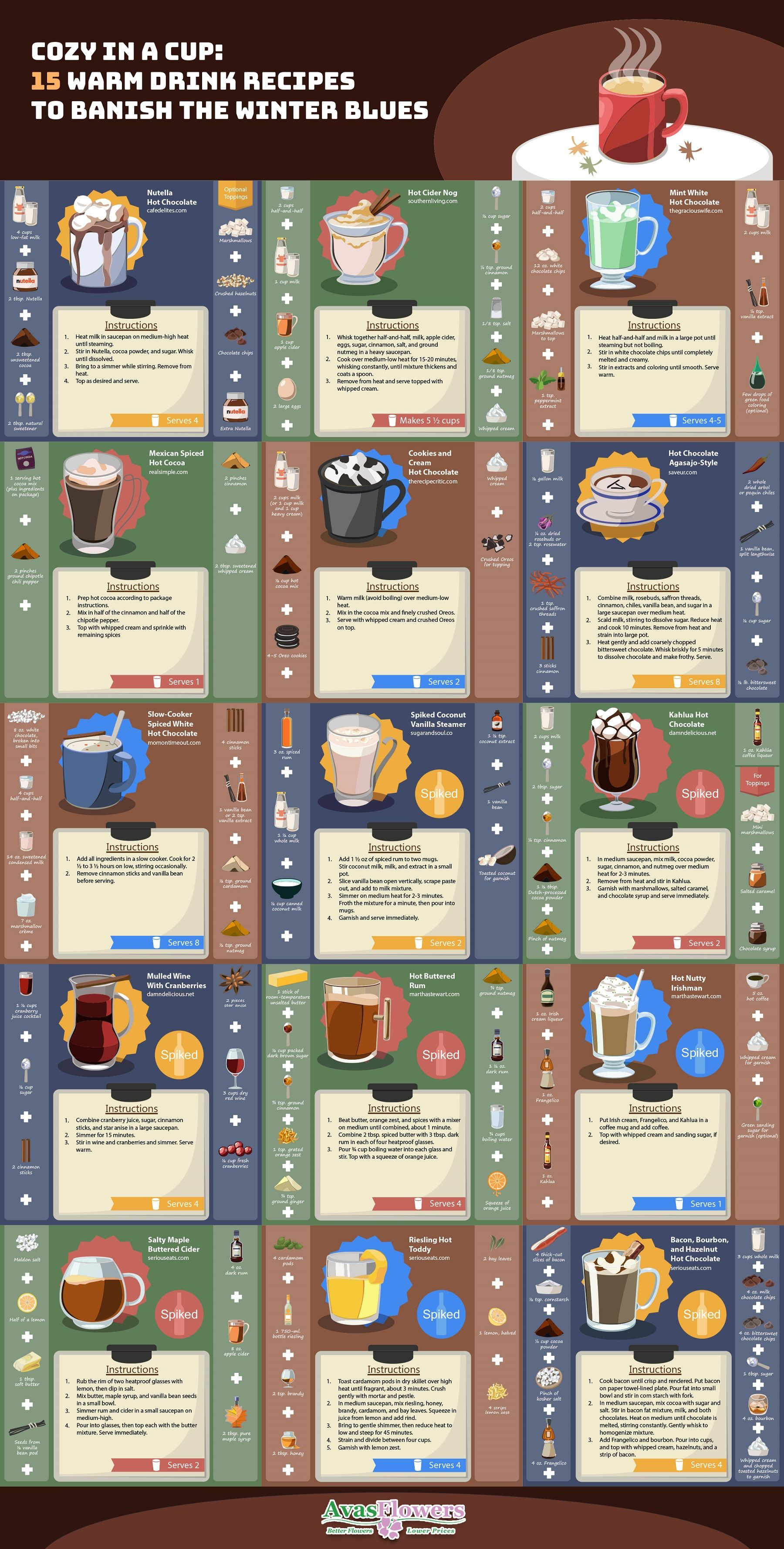 Cozy in a Cup: 15 Warm Drink Recipes to Banish The Winter Blues #Infographic