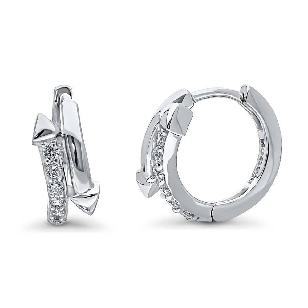 "BERRICLE 925 Silver Cubic Zirconia CZ Double Row Inside-Out Hoop Earrings 0.9/"""