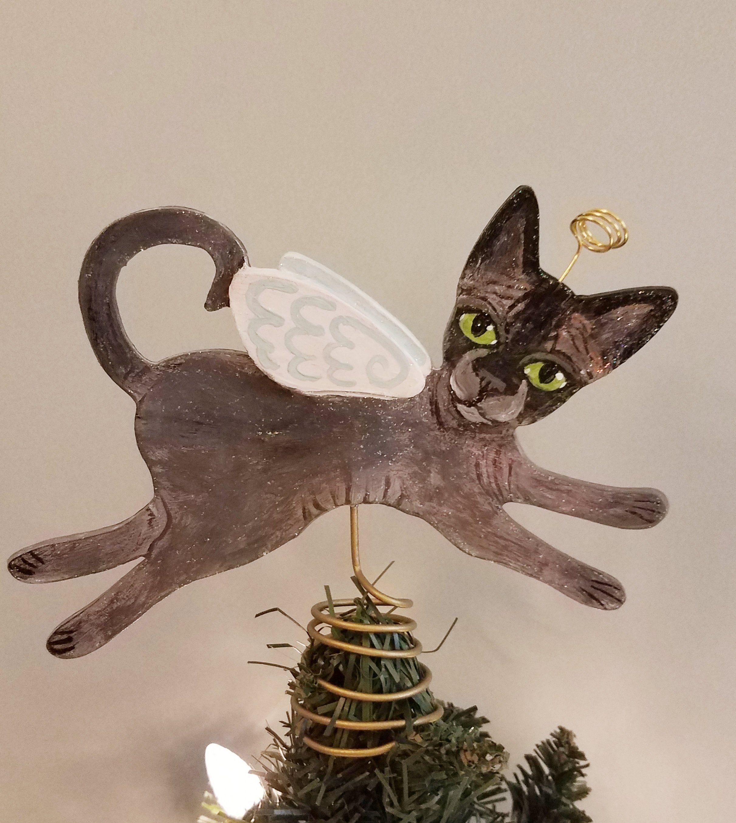 Cat Angel Christmas Tree Topper: Sphynx Cat Angel Tree Topper