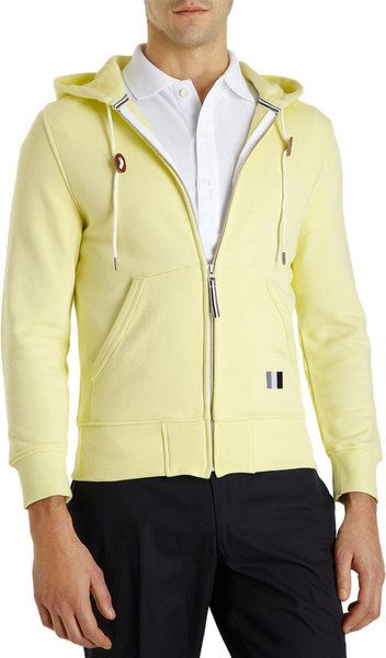 Thom Grey Yellow Zip Front Hoodie