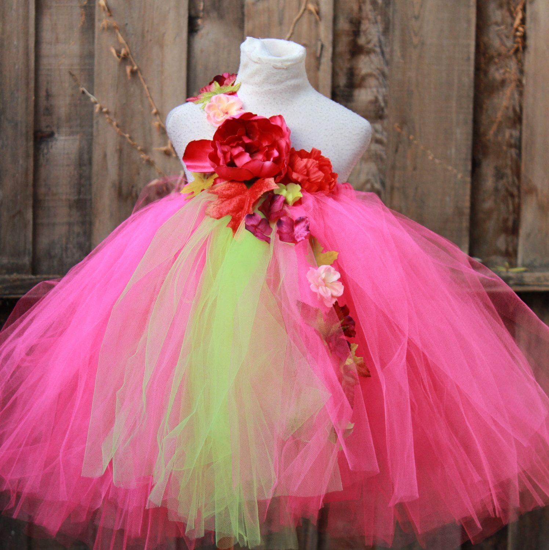 Custom Made Tutu Dress - Fuchsia GreenTutu Dress - Spring theme Flower Girl Dress -  Spring Wedding  - Green Fuchsia Dress by BloomsNBugs on Etsy https://www.etsy.com/listing/259033389/custom-made-tutu-dress-fuchsia-greentutu