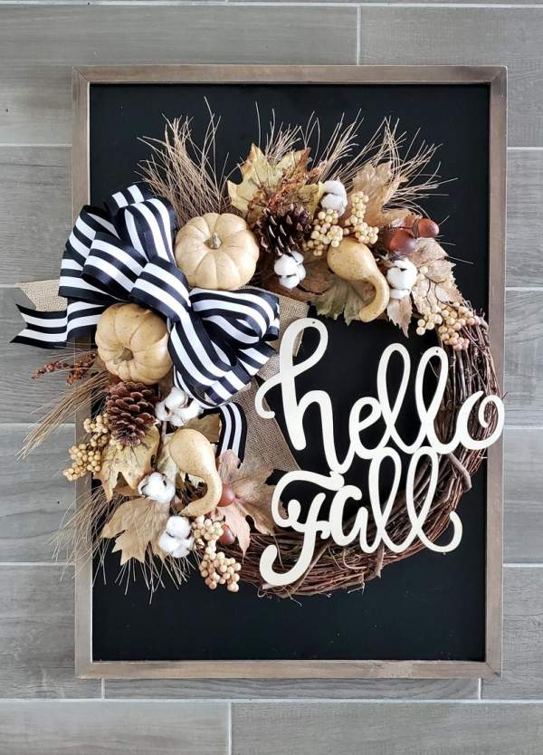 50 Fall Wreaths for Front Door to Cherish this Beautiful Autumn Season - Hike n Dip