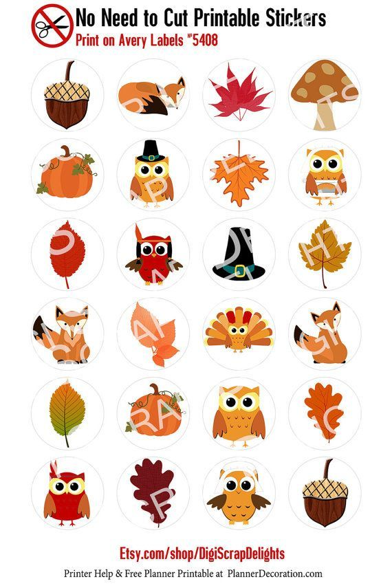 Autumn No Cut Needed Printable Planner Stickers Fall Owl Turkeys Fox