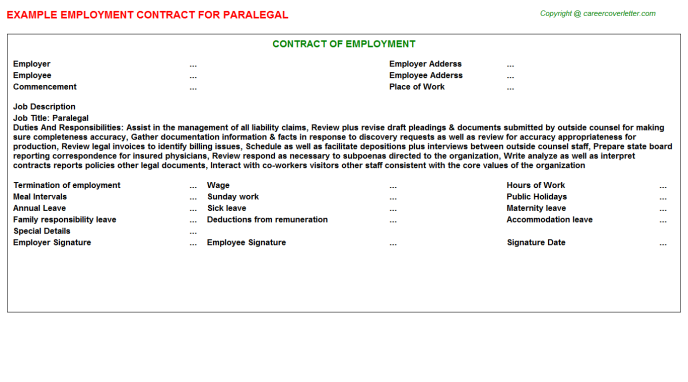 Related Employment Contracts For Quot Paralegal Appointment Letter