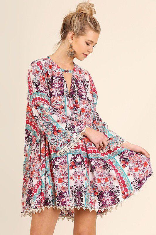 b19691b1925 Berry Mixed Print Bell Sleeve Dress Bazares