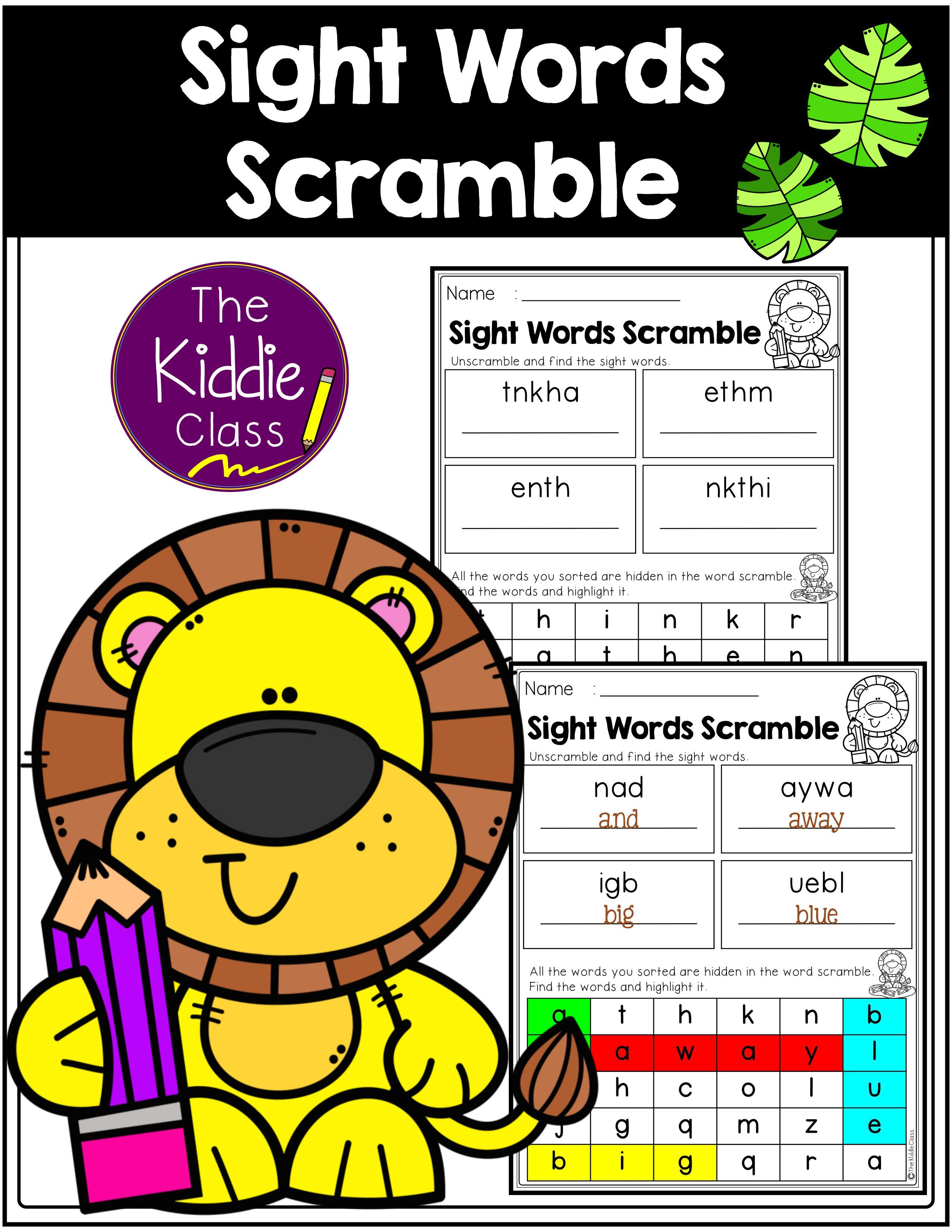 Sight Words Scramble In