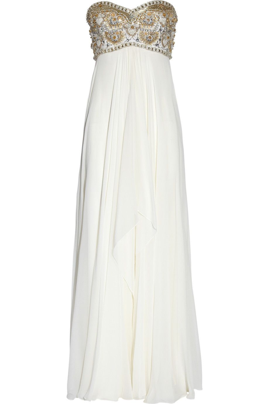 Marchesa chiffon beaded gown in white hippy pinterest