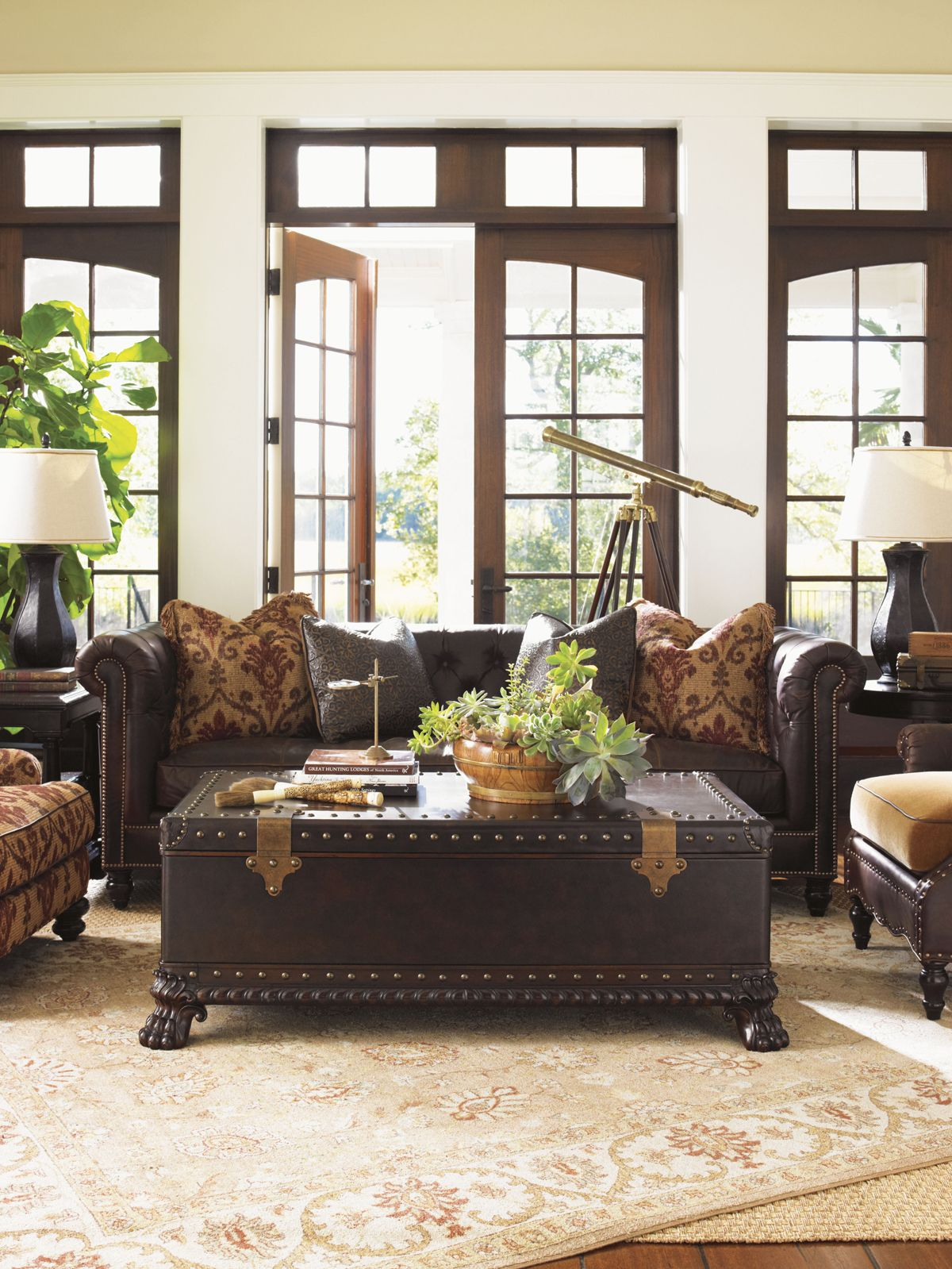 Island Traditions Manchester Leather Sofa British Colonial Decor Home Living Room Furniture Store