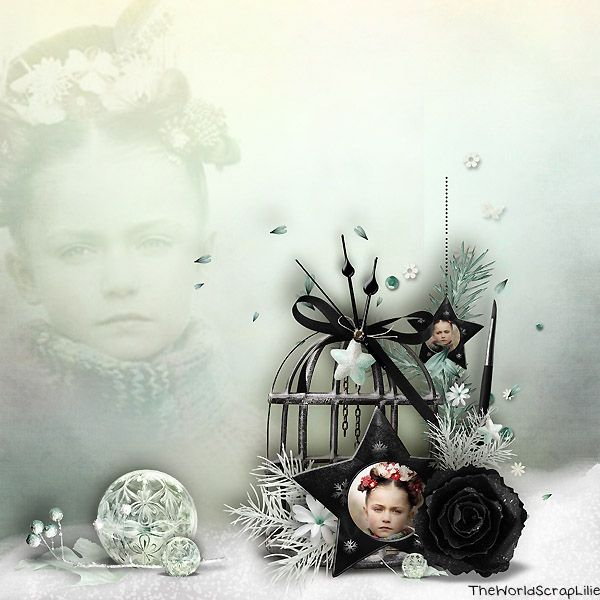 "Digital scrapbook layout using kit ""A tenderness winter day"" by Fanette Design."