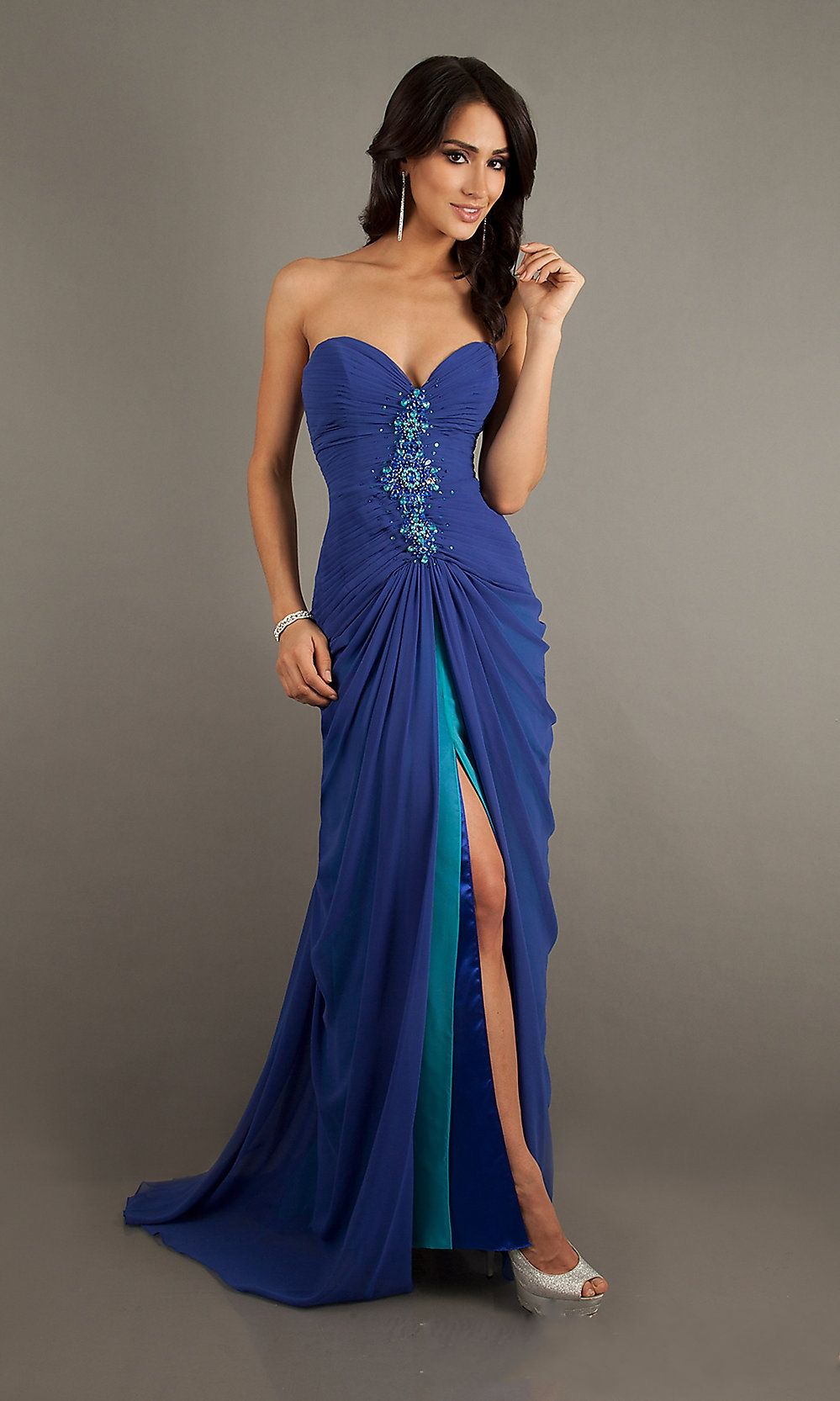 Lace up sweetheart split front royal blue prom dress prom dresses