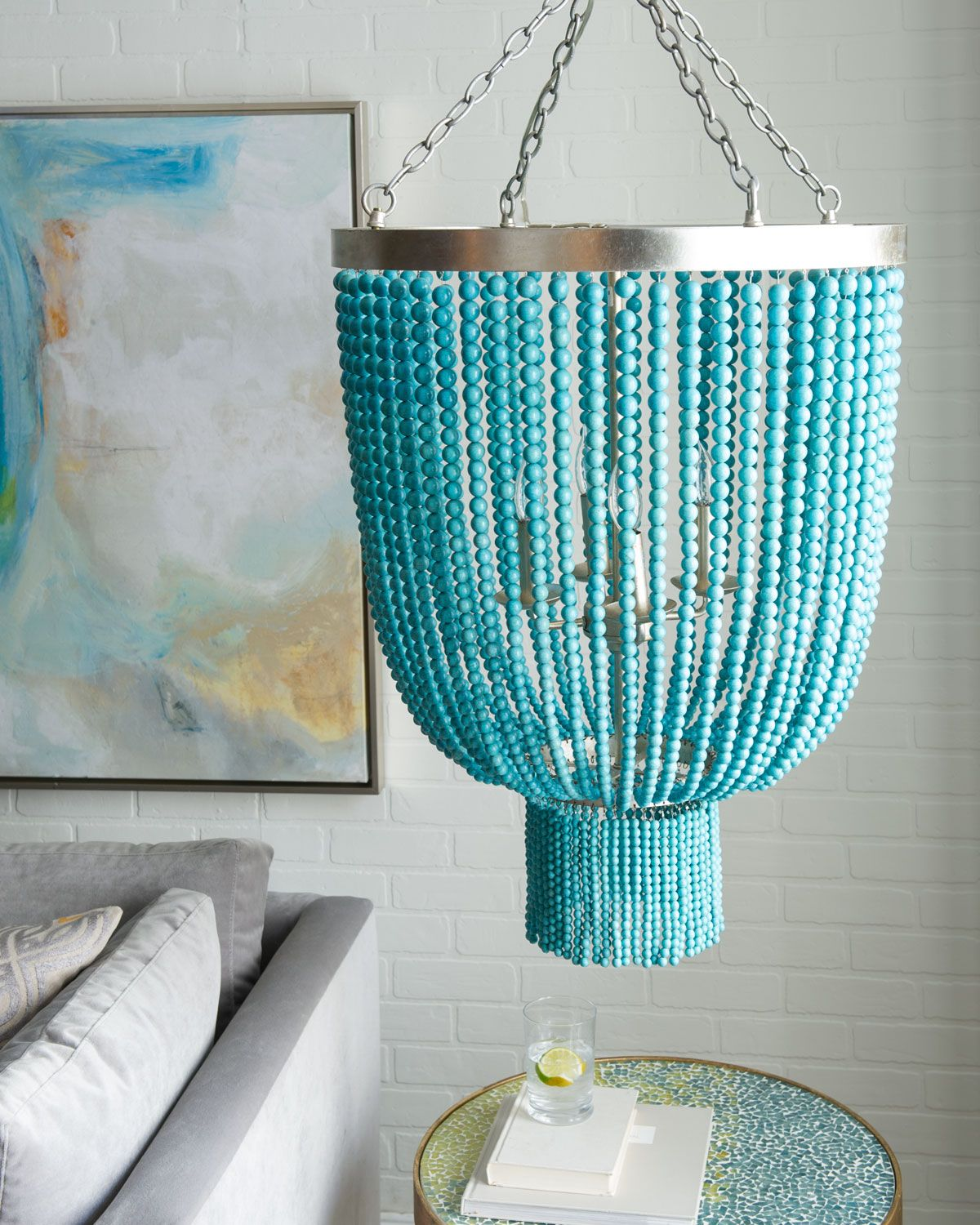 turquoise bead 4 light chandelier - Turquoise Chandelier Light