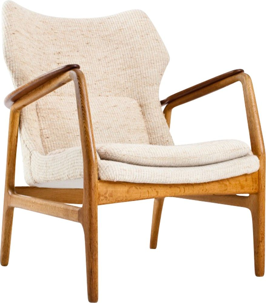 Lounge chair 'Edith' designed by Aksel Bender Madsen – Bovenkamp Holland, in 1960. Very comfortable lounge chair with a teak and oak frame and a cream white upholstery. In a very good condition.