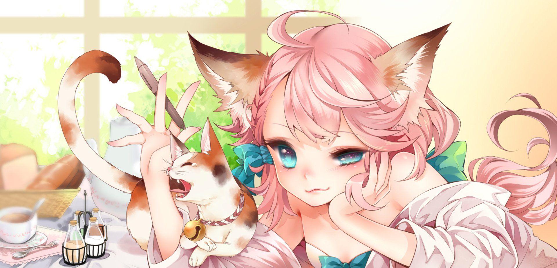 Anime Original Girl Long Hair Pink Hair Blue Eyes Smile Animal Ears Cat Girl Cat Animal Drink Tea Cup Pen Wallpaper Anime Animal Ears Cat Girl